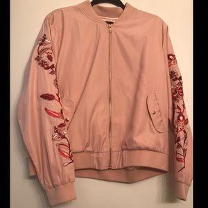 MINKPINK Rose Gold Pink Embroidered Jacket size XL